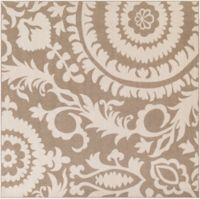 Surya Alfresco Indoor/Outdoor 8'9 Square Area Rug in Brown/Natural