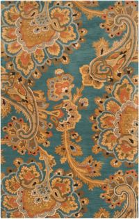 Surya Sea Floral 9' x 13' Hand Tufted Area Rug in Blue/Brown