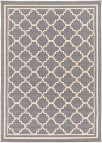 Surya Marina Geometric 3'11 x 5'3 Indoor/Outdoor Area Rug in Grey/Ivory