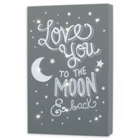 """Little Love by NoJo® """"Love You to the Moon and Back"""" Lighted Wall Art in Grey"""