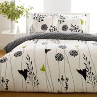 Perry Ellis® Asian Lily Reversible Full/Queen Comforter Set in Black
