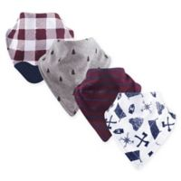 Yoga Sprout 4-Pack Happy Camper Bandana Bib with Teether in Red