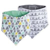 JJ Cole 2-Pack 50 Shapes of Grey Bandana Bib Set