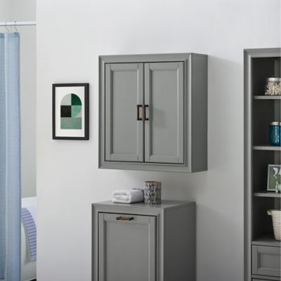 Crosley Furniture Tara Wall Cabinet In Vintage Grey