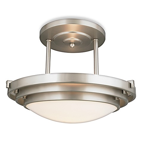 Semi-Flush Mount Electra 1-Light Glass and Brushed Chrome Ceiling Fixture