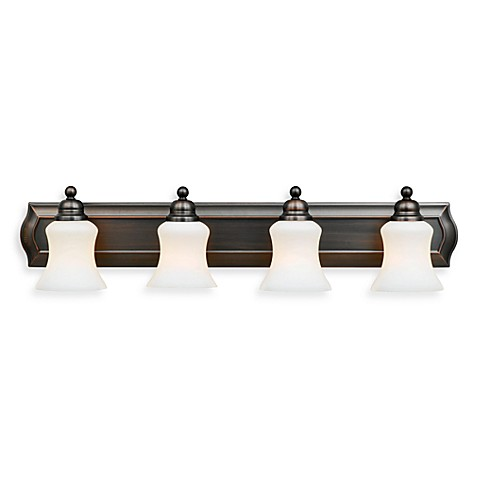 Oakland 4-Light Bathroom Fixture with Opal Glass Shades