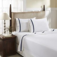 Hotel Luxury Concepts 500-Thread-Count Queen Sheet Set in White/Denim Blue
