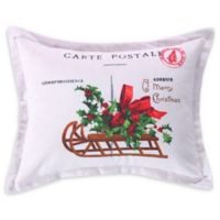 Levtex Home Yuletide Carte Postal Oblong Throw Pillow in White