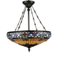 Quoizel® Tiffany-Style 4-Light Belle Fleur Art Glass Pendant