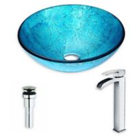 ANZZI™ Accent 16.5-Inch Glass Vessel Sink with Chrome Key Faucet in Emerald Ice