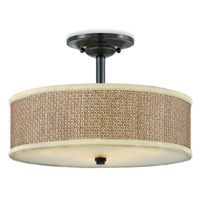 Buy quoizel black ceiling light from bed bath beyond zen semi flush 3 light ceiling light in tan rattan and mystic black aloadofball Choice Image