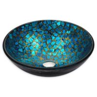 ANZZI Mosaic Deco-Glass Vessel Sink in Blue Gold Mosaic