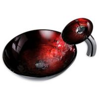 ANZZI Tone Deco-Glass Vessel Sink in Tempered Red and Black with Matching Chrome Waterfall Faucet