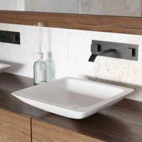 Vigo VGT1205 Square Matte Stone Vessel Sink and Titus Wall-Mount Faucet in White