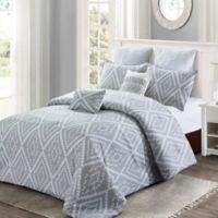 Ikat Geo Queen Comforter Set in Grey