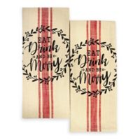 "Winter Wonderland ""Eat, Drink, and be Merry"" Kitchen Towels (Set of 2)"