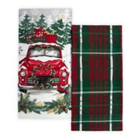 Winter Wonderland 2-Pack Red Truck Kitchen Towels