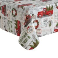 Holiday Truck 60-Inch x 84-Inch Oblong Vinyl Tablecloth