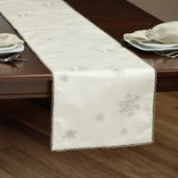Falling Snow 90-InchTable Runner in Silver