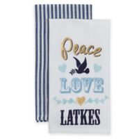 """""""Peace, Love & Latkes"""" 2-Pack Kitchen Towels in White"""