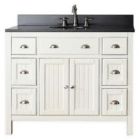 Avanity Hamilton 43-Inch Single Vanity Combo with Black Granite Top and Mirror in French White