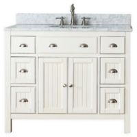 Avanity Hamilton 43-Inch Single Vanity Combo with White Marble Top and Mirror in French White
