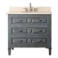 Avanity Kelly 37-Inch Single Vanity Combo with Beige Marble Top and Mirror in Grey Blue
