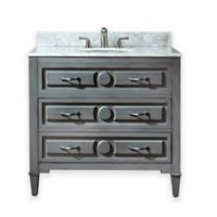 Avanity Kelly 37-Inch Single Vanity Combo with White Marble Top and Mirror in Grey Blue