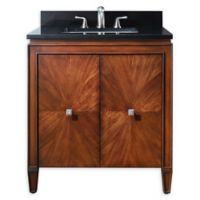 Avanity Brentwood 31-Inch Single Vanity Combo with Black Granite Top and Mirror in Walnut