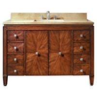 Avanity Brentwood 49-Inch Single Vanity Combo with Beige Marble Top and Mirror in Walnut