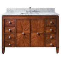 Avanity Brentwood 49-Inch Single Vanity Combo with White Marble Top and Mirror in Walnut