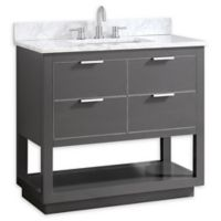 Avanity Allie 37-Inch Single Vanity Combo with White Marble Top and Mirror in Grey with Silver Trim