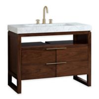 Avanity Giselle 43-Inch Single Vanity Combo with White Marble Top and Mirror in Walnut