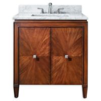 Avanity Brentwood 31-Inch Single Vanity Combo with White Marble Top and Mirror in Walnut
