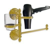 Allied Brass Que New Hair Dryer Holder and Organizer in Polished Brass