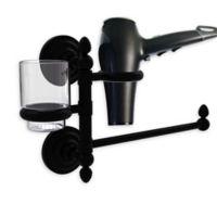 Allied Brass Que New Hair Dryer Holder and Organizer in Matte Black