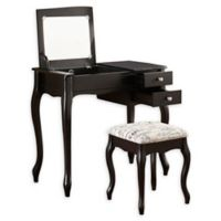 Linon Home Veronica Vanity Set in Black
