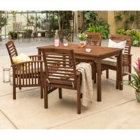 Forest Gate Arvada 5-Piece Acacia Wood Outdoor Dining Set in Dark Brown
