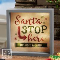 Santa Stop Here 6-Inch x 6-Inch LED Light Shadow Box