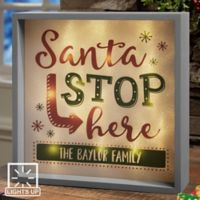 Santa Stop Here 10-Inch x 10-Inch LED Light Shadow Box