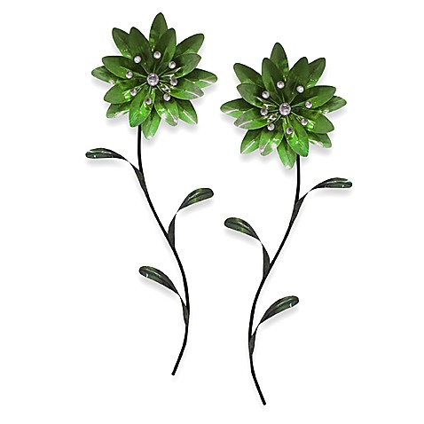 Flower Metal Wall Art metal flower wall art - green - bed bath & beyond