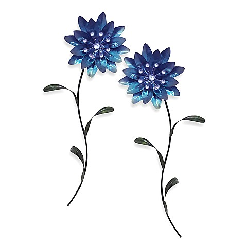 Metal Flower Wall Art   Blue