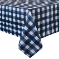 Basics Watercolor Check Printed 70-Inch Round Tablecloth in Navy