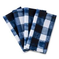 Basics Watercolor Check Printed Napkins in Navy (Set of 4)