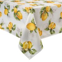 Basics Lemon Printed 60-Inch x 120-Inch Oblong Tablecloth
