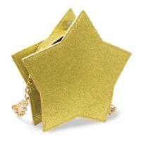 Glitter Star 10 oz. Round Purse Flask in Gold