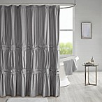 510 Design Ciera Solid Ruched Shower Curtain in Grey