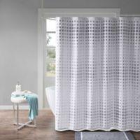 Madison Park Essentials Venus Faux Silk Laser Cut Shower Curtain in White/Grey