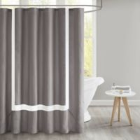 510 Design Carroll Pieced Border Shower Curtain with Liner in Grey