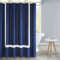 510 Design Carroll Pieced Border Shower Curtain with Liner in Navy
